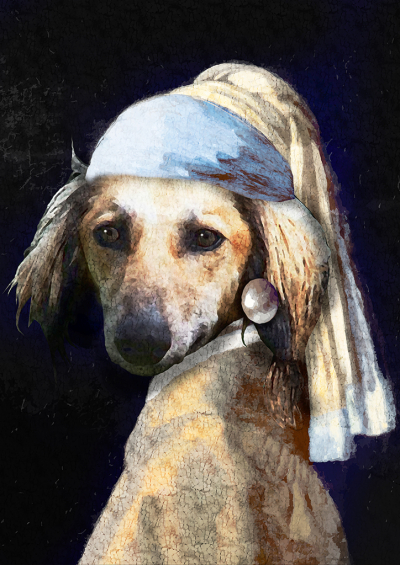 A4 print - Pooch with the Pearl Earring