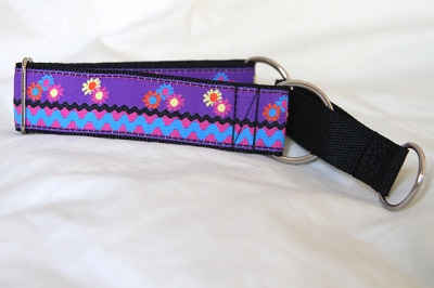 Martingale (small) - purple floral ric-rac (D24S)