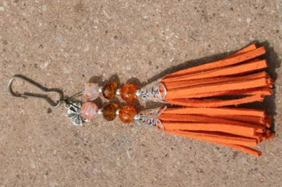 Orange with Shamrock Charm