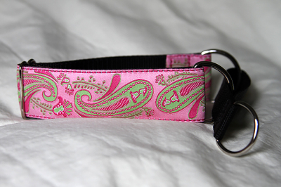 Martingale (small) -  pink and lime paisley (D01S)