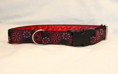Luxury clip collar - red and blue flowers (DH02)