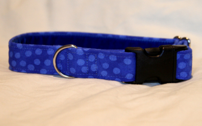 Luxury clip collar  - blue spotted (DH09)
