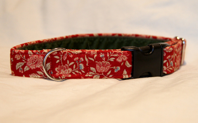 Luxury clip collar  - red floral (DH10)
