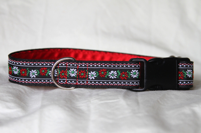 Luxury clip collar - red and white flowers (DH20)