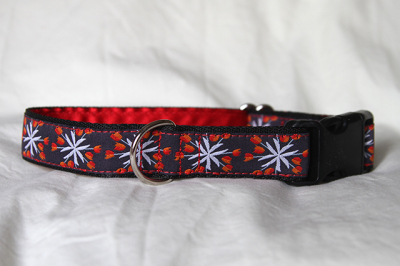 Luxury clip collar - white/orange flower burst (DH22)