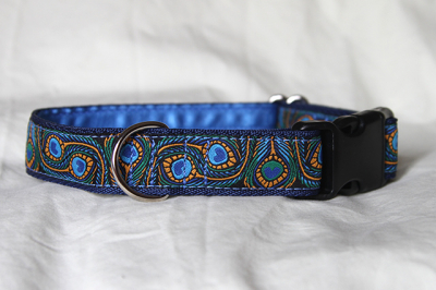 Luxury clip collar - peacock feather (DH23)