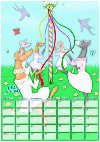 Cartoon Hound Calendar 2018