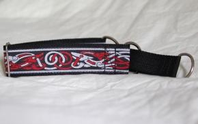 Martingale (medium) - red/light grey celtic dog (D17M)