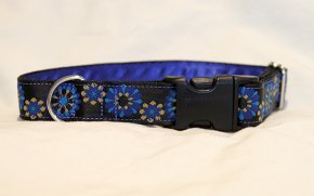 Luxury clip collar  - blue and yellow flowers (DH04)