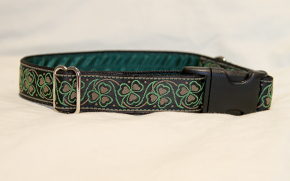 Luxury clip collar - green clover (DH05)
