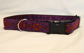 Luxury clip collar  - purple, pink and orange hearts (DH08)