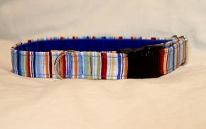 Luxury clip collar - multi-coloured stripe (DH11)