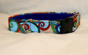 Luxury clip collar - multi-coloured swirl (DH12)