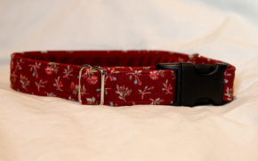 Luxury clip collar - red small flower (DH15)