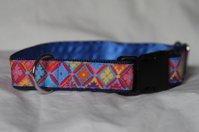 Luxury clip collar - colourful flowers (DH21)