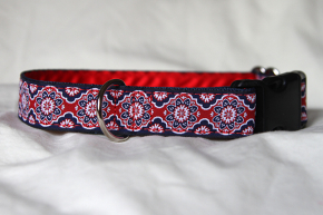 Luxury clip collar - blue, white, red flower (DH25)